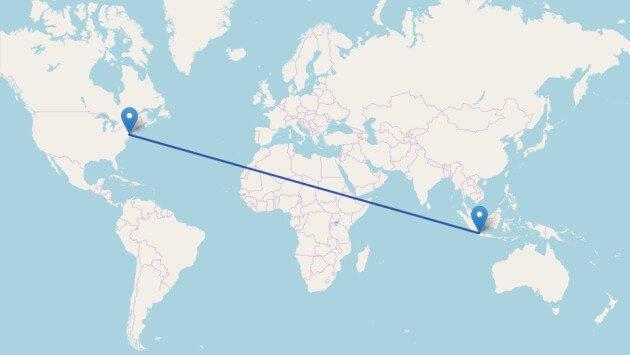 jarak indonesia ke amerika
