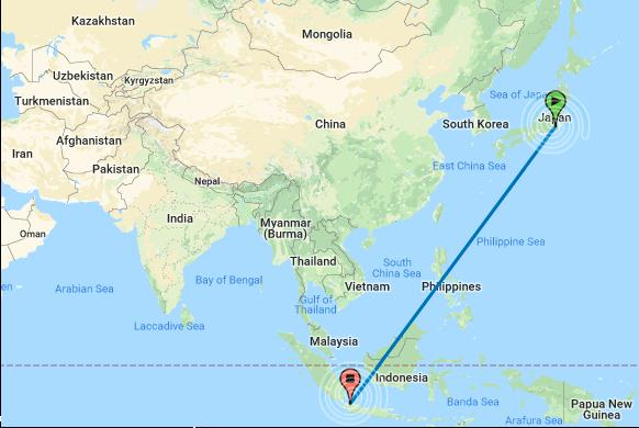 Map Garis Lurus Indonesia dan Jepang